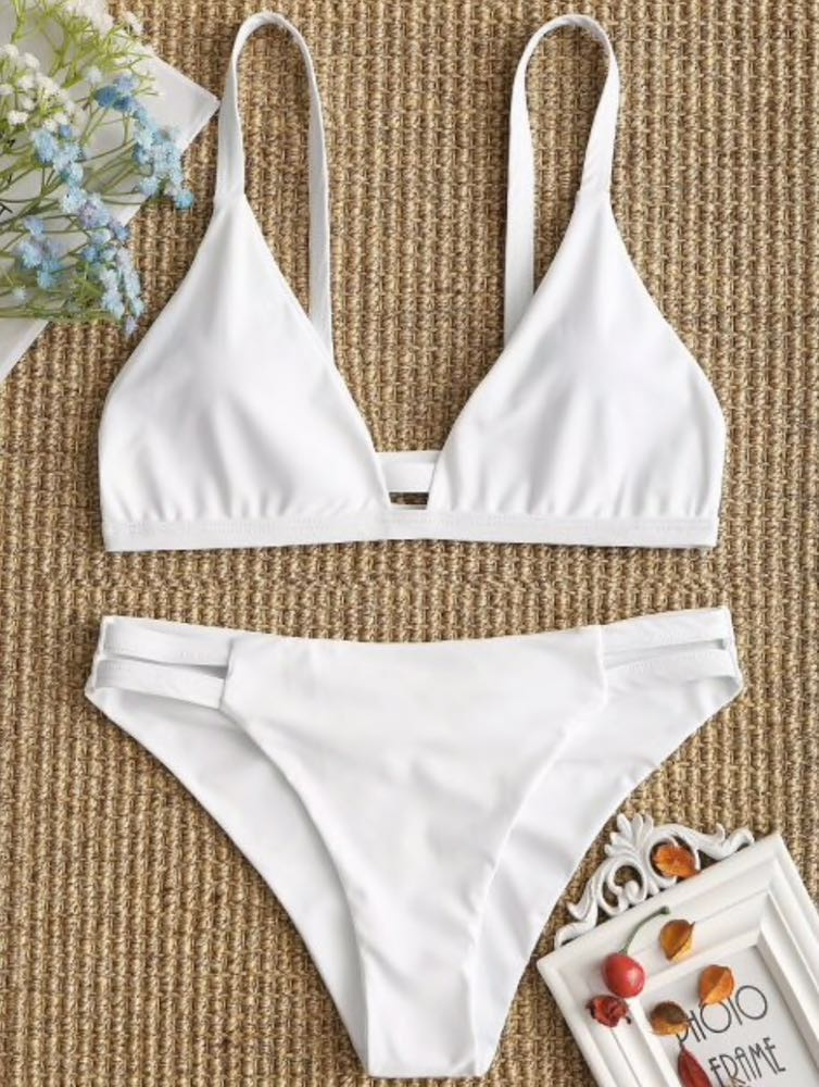 Zaful Ladder Cut White Bikini