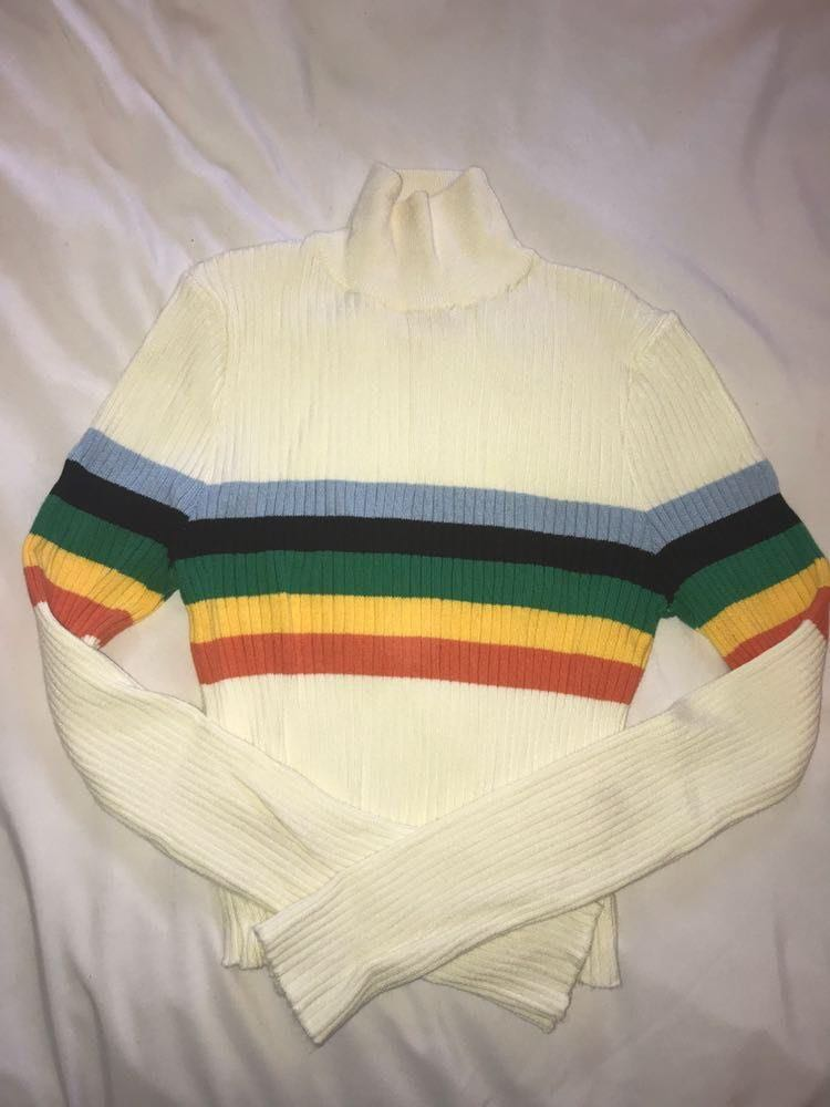 Urban Outfitters Cropped Rainbow Turtleneck