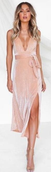 Xenia Low V Champagne Maxi Dress