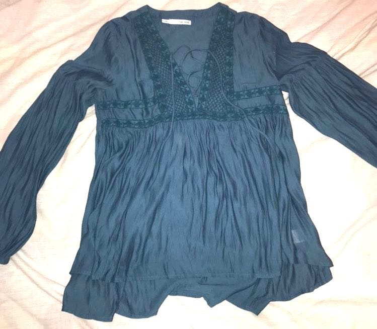 Maurice's Blue Peasant Top