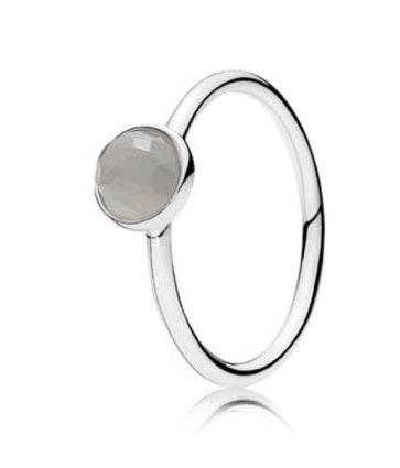 Pandora june droplet ring, grey moonstone
