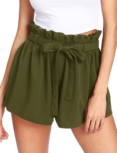 Romwe Olive Casual Jersey Shorts