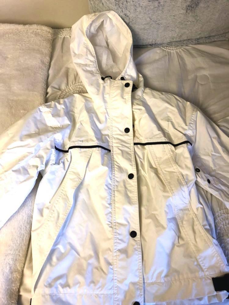 Eddie Bauer White Rain Jacket With Black Detail
