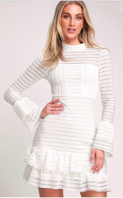 Lulus White Ruffle Dress