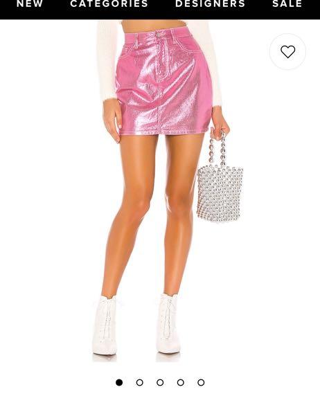Revolve Metallic Pink Skirt
