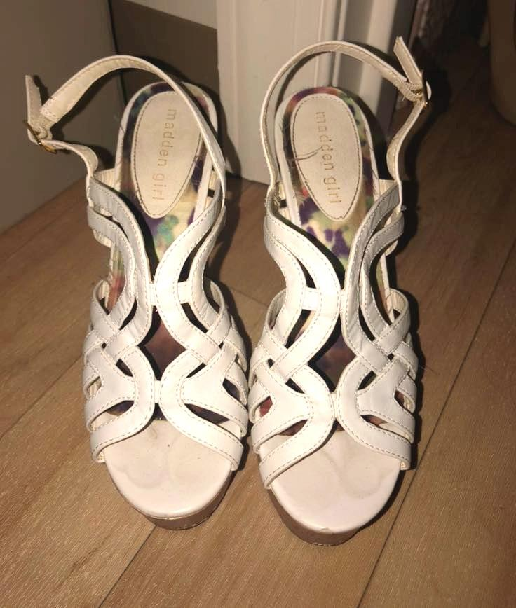 Madden Girl White Cork Wedges