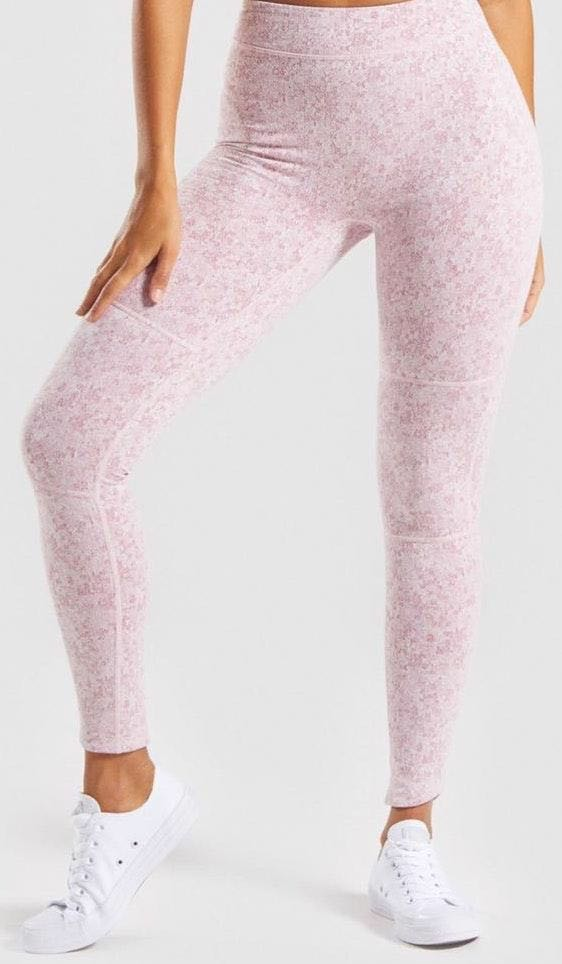 Gymshark Fleur Texture Leggings - Dusty Pink