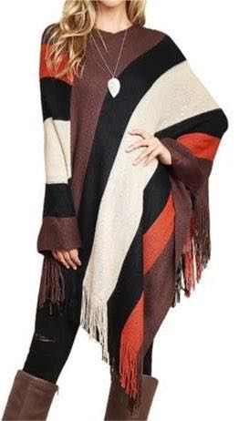 Rustic Fringe Color Block Poncho