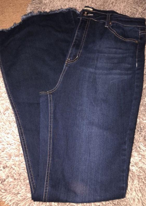 Fringed Flare Blue Jean