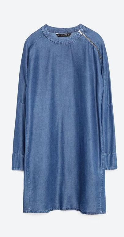 ZARA Chambray Lyocell Long Sleeve Dress