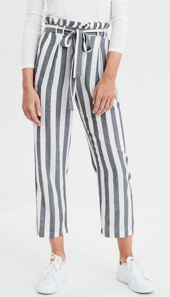 American Eagle Outfitters AE High Waisted Striped Tapered Pant