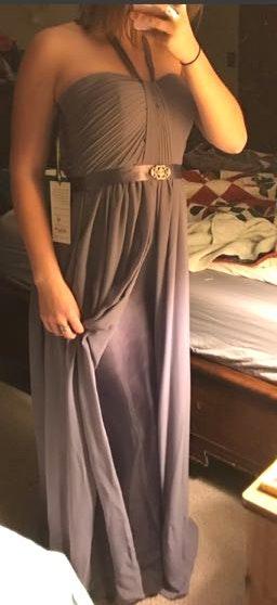 Milano Formals Purple Silk Chiffon Dress
