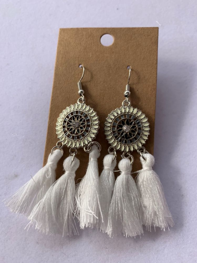 White Boho Tassel Earrings