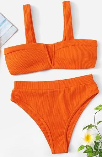 SheIn Orange High Waisted Bikini