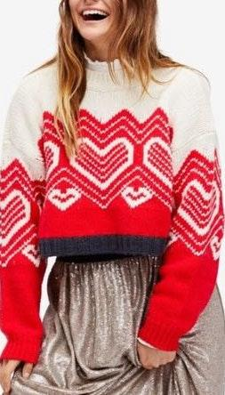 Free People Heart Cropped Sweater