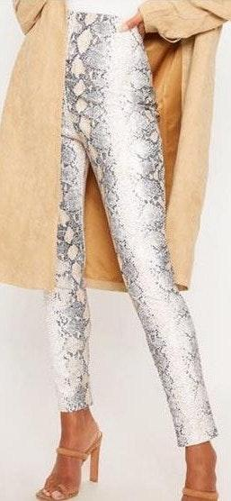 95363a151e56dd Pretty Little Thing White Snakeskin Faux Leather Skinny Pants