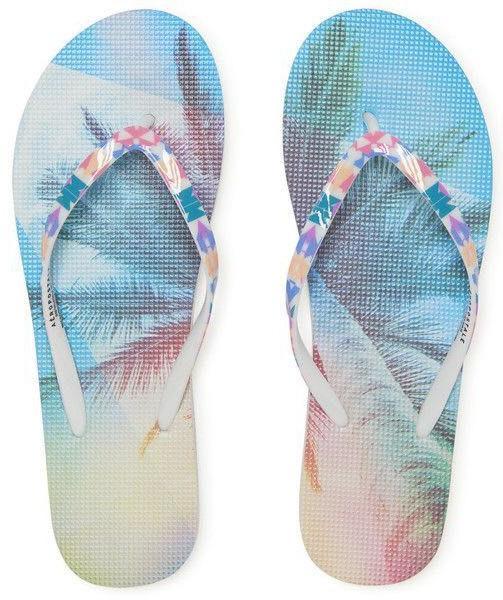 Aeropostale Neon Palm Tree Flip Flops