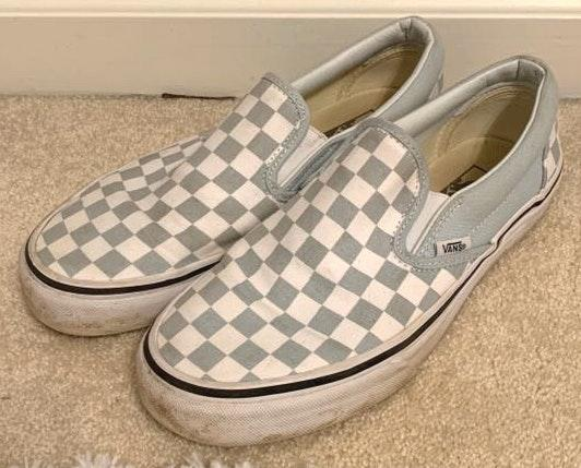 Light Blue/Grey Checkerboard Low Vans