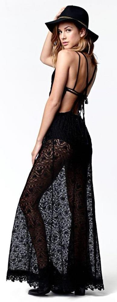 Kendall & Kylie Kendall + Kylie Black Lace Maxi Dress Size XS
