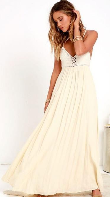 Lulus Cream Maxi Dress