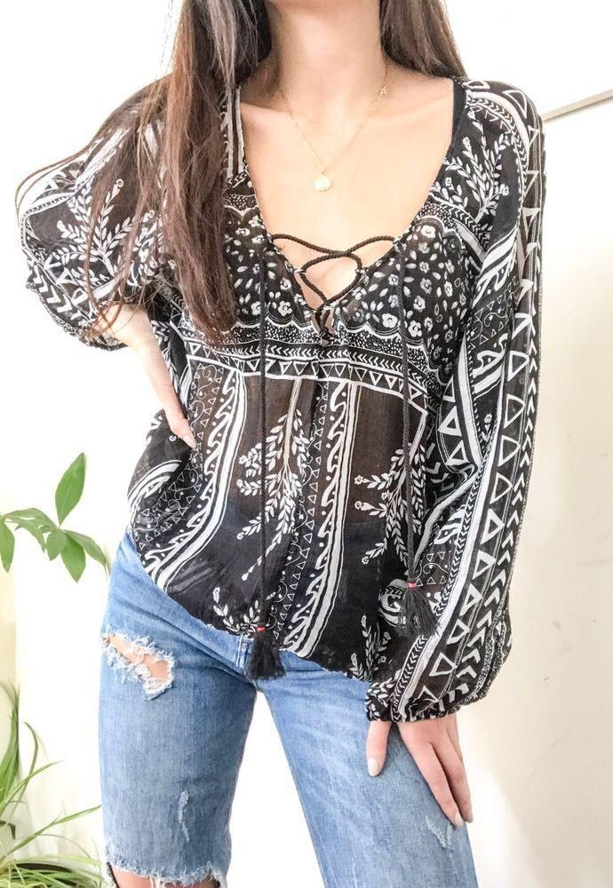 Free People BoHo Lace up Top