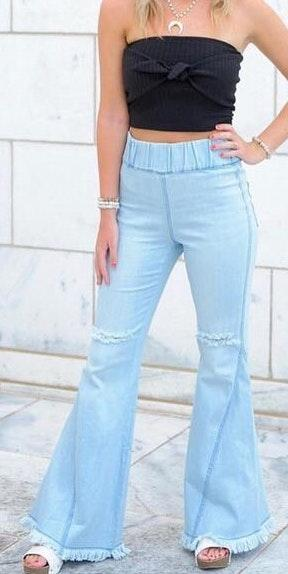 light wash distressed bell bottoms
