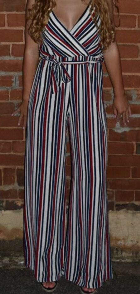 Peachy Keen Striped Jumpsuit