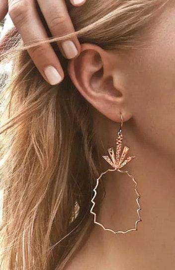 Rose Gold Pineapple Outline Earrings