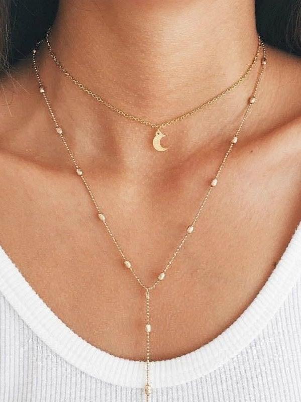 Gold Moon Boho Choker Necklace