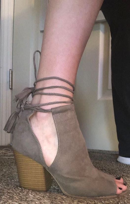 Qupid Taupe Lace-Up Heels