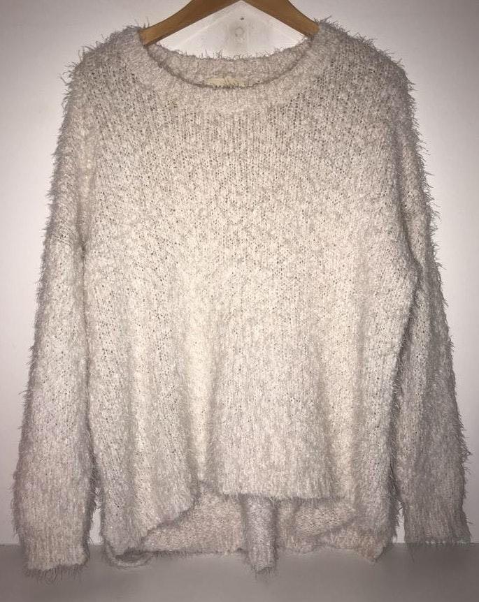 Luca + Grae White fuzzy sweater