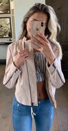 Free People Pink Faux Leather Jacket