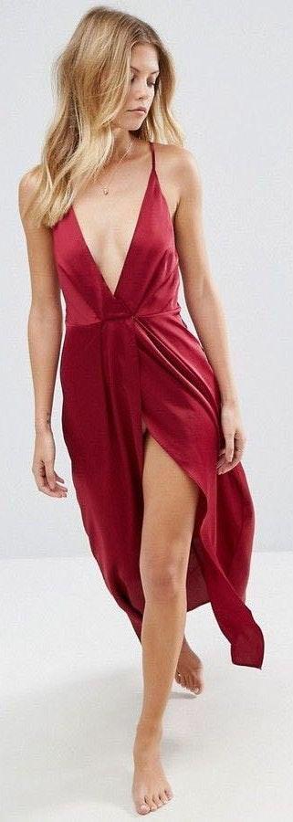 ASOS Red Slip Maxi