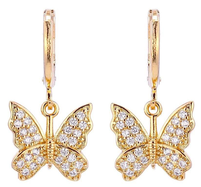 Beaded by Meg Gold Butterfly Huggies