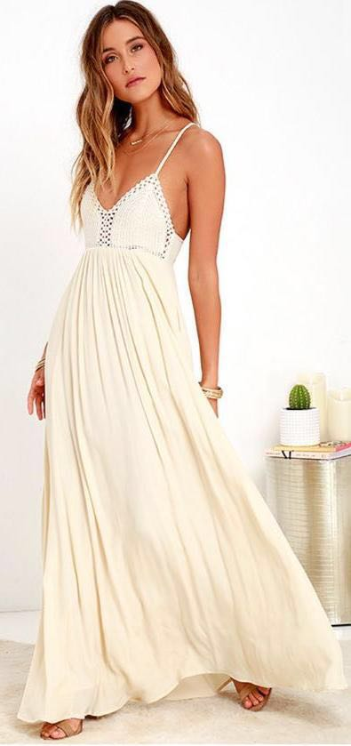 Lulus Cream Maxi Dress