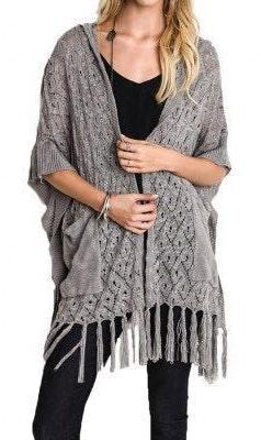 Umgee Hooded Sweater Poncho