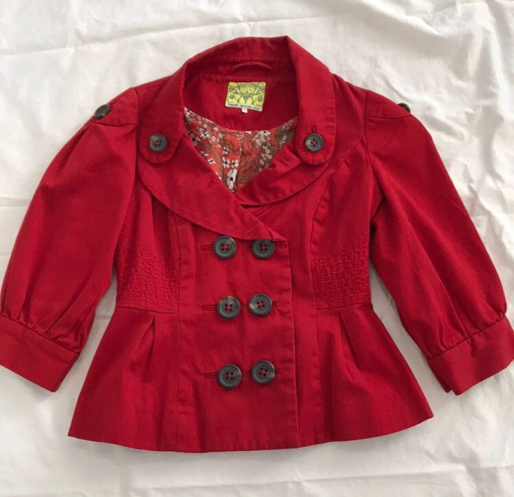 Anthropologie Floreat Red Button Jacket