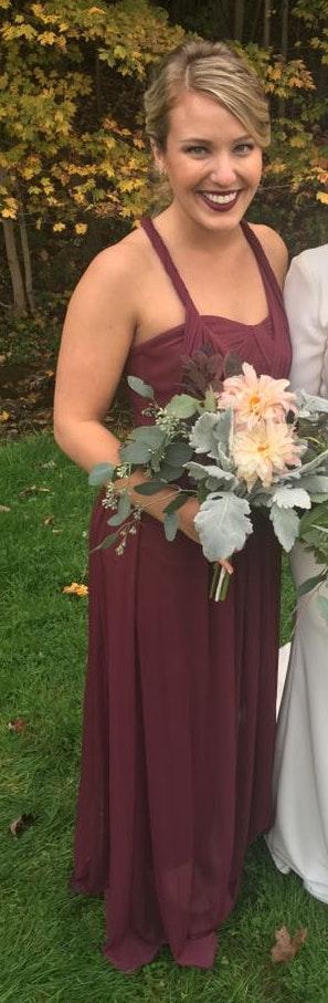 David's Bridal Burgundy Bridesmaid Dress