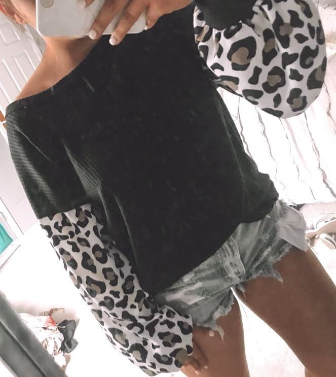 6c0a04839c9 These Three Boutique Black Cheetah Print Sleeve Thermal