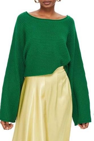 Topshop Green Cropped Sweater