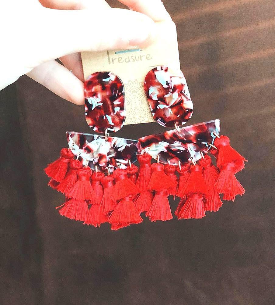 Red Acrylic Fringe Earrings
