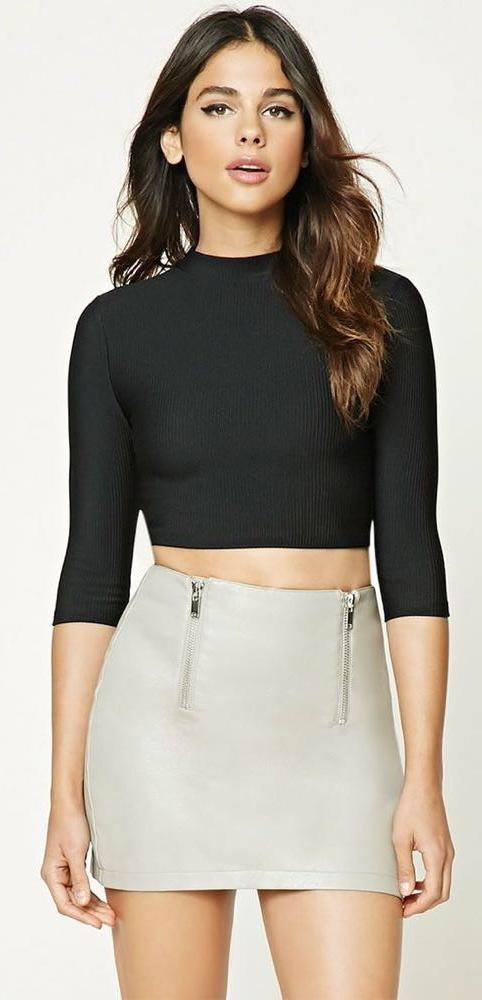 Forever 21 Nude Leather Skirt