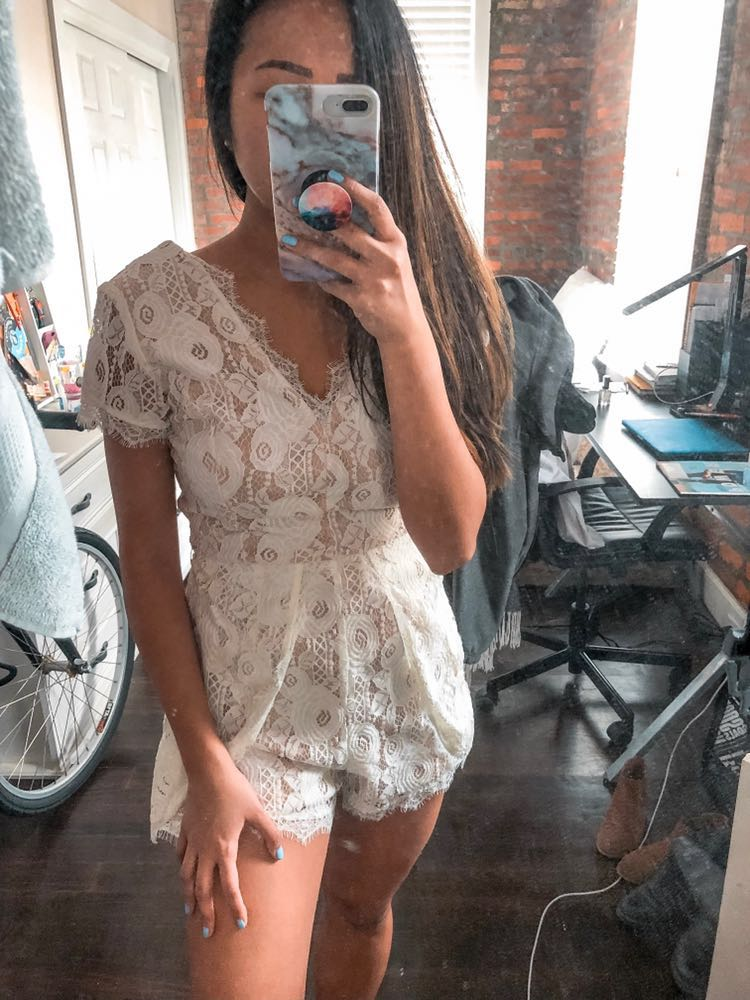 Francesca's White Lace Short Sleeve Romper