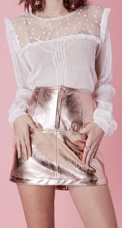 For Love & Lemons For Love And Lemons Metallic Skirt