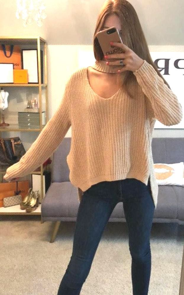 Boohoo Light Pink Knit Sweater