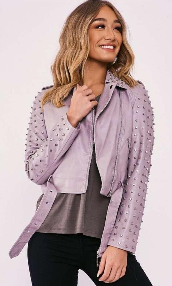 In The Style Kamia Faux Leather Studded Jacket