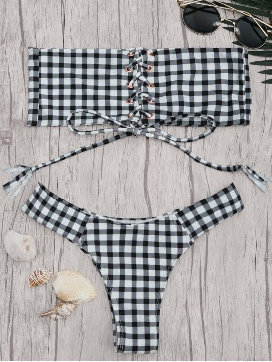 Zaful Gingham Bikini Set