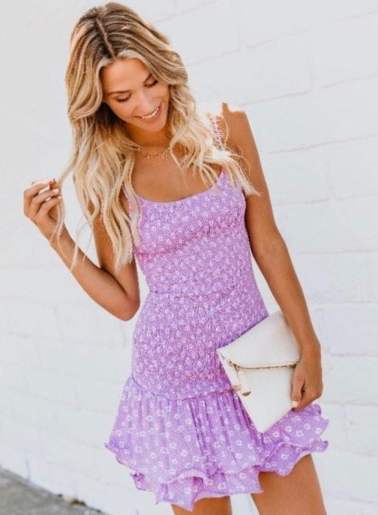 VICI Lilac Smocked Mini Dress