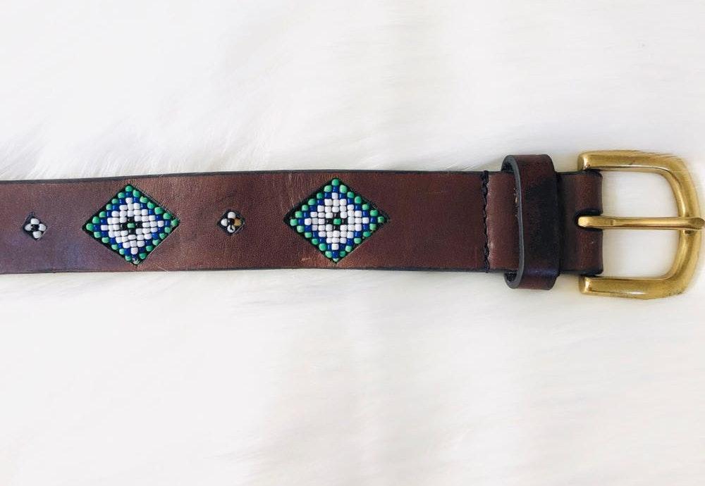 Vintage Aztec brown beaded leather belt
