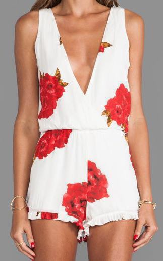Black Swallow Red White Flower Romper